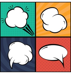 Set of comic bubbles and elements in pop artwith vector image