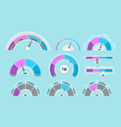 set of speedometers and vector image