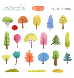 Set of watercolor trees vector
