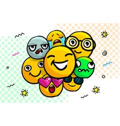 set smile emoticons vector image