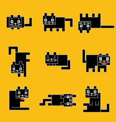 Square black cats on a yellow background vector