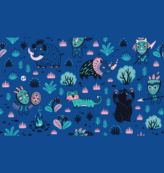 Stone age pattern in blue colors vector