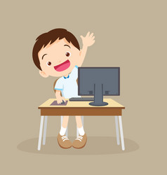 student boy learning computer hand up vector image