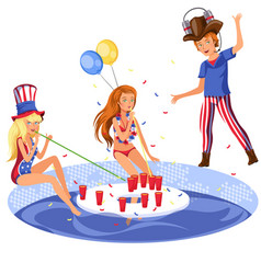 students pool alcohol party vector image