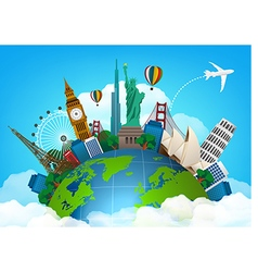 The concept of travel famous monuments of the wor vector image