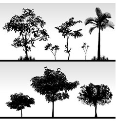 tree grass silhouette a set of isolated tree and vector image