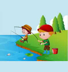 Two boys fishing by the river vector