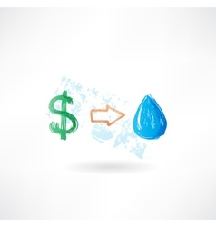 Water dollar grunge icon vector image