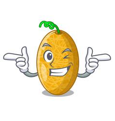 Wink ripe honeydew melon in market cartoon vector