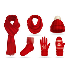 Winter red knitted clothes set vector