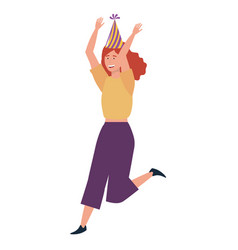 woman cartoon with party hat design vector image