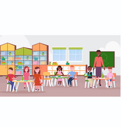 woman teacher teaching mix race boys and girls vector image