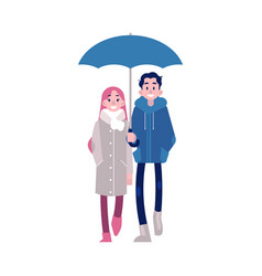 young couple walking under vector image