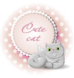 cute cat angel vector image vector image