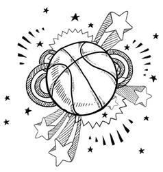 doodle pop basketball vector image vector image