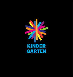 kids flat color emblem vector image