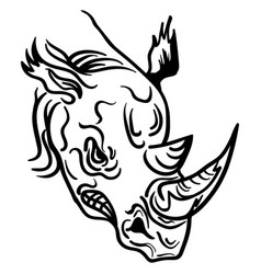linear paint draw rhino head vector image vector image
