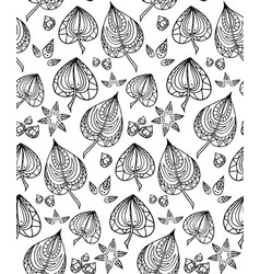 seamless texture with black and white doodle vector image vector image
