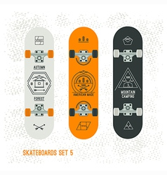 Set of retro vintage badges on a skateboard vector image vector image