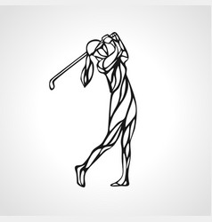 silhouette of lady golf player eps10 vector image