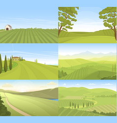 agricultural farm field set vector image