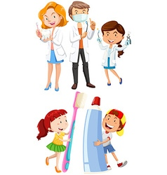 Dentists and children with toothbrush vector image vector image