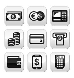 Money atm - cash mashine buttons set vector image