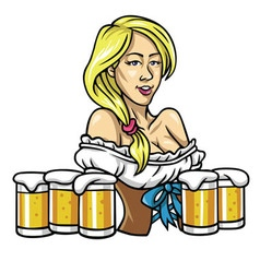 Oktoberfest Sexy Girl Holding The Beers vector image