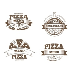 Pizza menu restaurant labels logos badges vector image