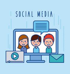 social media community group dialog chat vector image vector image