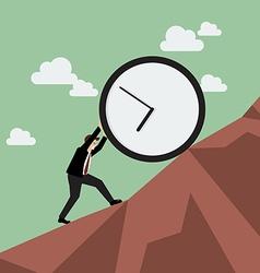 Businessman pushing huge clock uphill vector image vector image