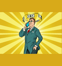 businessman talking on the phone about finances vector image vector image