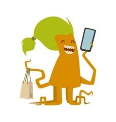 Cartoon cute monster shopping character vector image