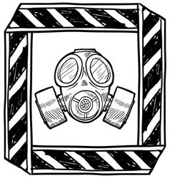 doodle gas mask vector image