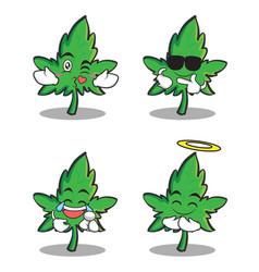 marijuana character cartoon set collection vector image vector image