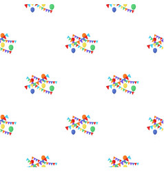 party flags and balloons icon in cartoon style vector image