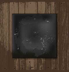 square blackboard at white wooden backdrop vector image