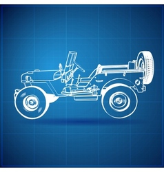 Vintage Blueprint of American Jeep vector image vector image