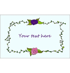 Cute hand drawn floral frame vector image vector image