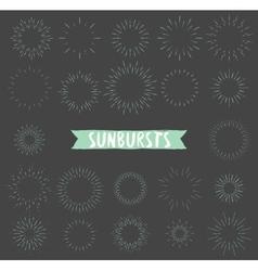 Hand drawn set of retro sunbursts vector image vector image