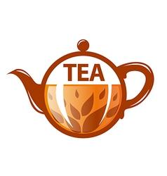 logo round glass teapot vector image