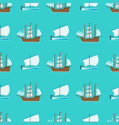 Ship cruiser boat sea seamless pattern vessel vector