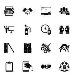 16 filled icons set isolated on white vector