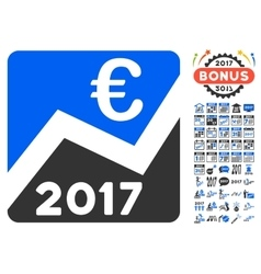 2017 Euro Chart Icon With 2017 Year Bonus vector