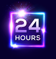 24 hours clock in square glowing electric frame vector image