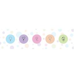 5 ballon icons vector image