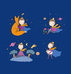 A fairy tale about boy rose planet vector