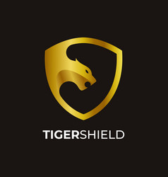 Awesome tiger with shield logo template vector