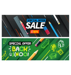 back to school sale special offer banners set vector image