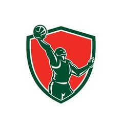 Basketball Player Rebounding Lay-Up Ball Shield vector